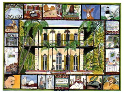 """""""Hemingway House, Key West, FL"""" Mixed media on Arches paper, 22 x 30 inches, Signed lower right"""