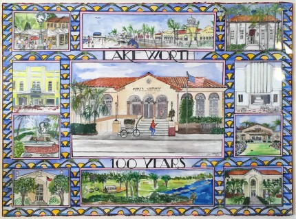 """""""Lake Worth, 100 Years"""" Mixed media on Arches paper"""