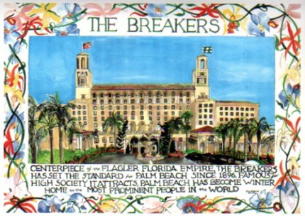 """""""The Breakers, Palm Beach, FL"""" Mixed media on Arches paper, Signed lower right"""