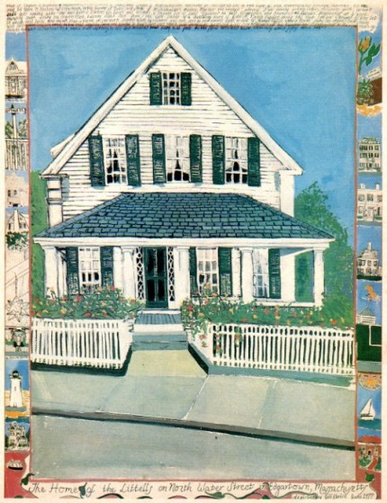 """""""The Littell Home S. Water Street Edgartown, Martha's Vineyard, Massachusetts"""" Mixed media on Arches Paper, 22 x 30 inches, Signed lower right"""