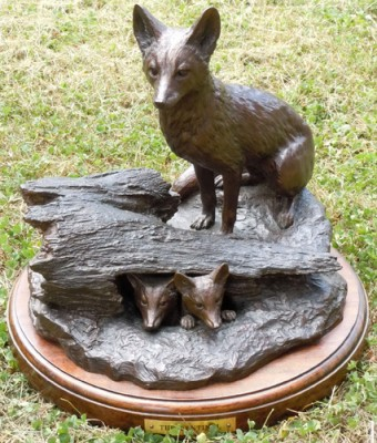 """The Sentinel"" Bronze, Edition: 4/15, First cast in 1992 (edition now sold out), Round base: 15"", Height: 14"""