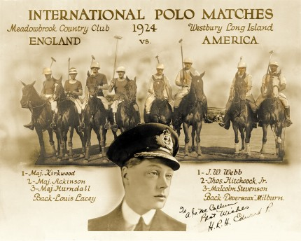 """International Polo Matches 1924, Meadowbrook Country Club, Westbury Long Island, England vs. American"" (England) 1 - Maj. Kirkwood, 2 - Maj. Ackinson, 3 - Maj. Hurndall, Back - Louis Lacey 