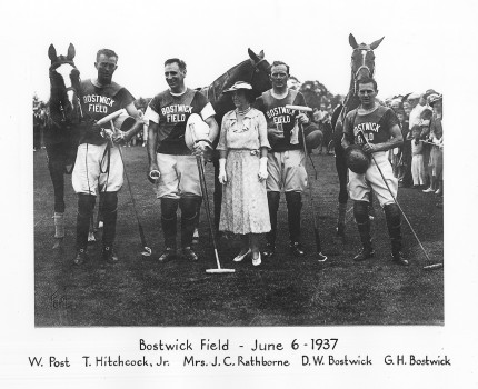 """Bostwick Field, June 6, 1937"" W. Post, T. Hitchcock, Jr., Mrs. J.C. Rathborne, D.W. Bostwick, G.H. Bostwick"