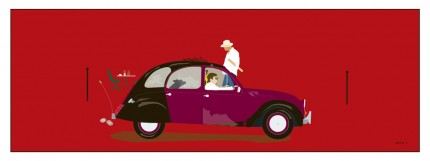 """2CV"" Digital graphic art and acrylic inks, Limited edition archival pigment print, Edition of 99: 13 x 38 inches, Signed and Numbered"