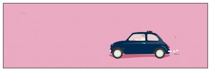 """Ciao Mennagio Fiat 500"" Digital graphic art and acrylic inks, Limited edition archival pigment print, Edition of 99: 14 x 44 inches, Signed and Numbered"