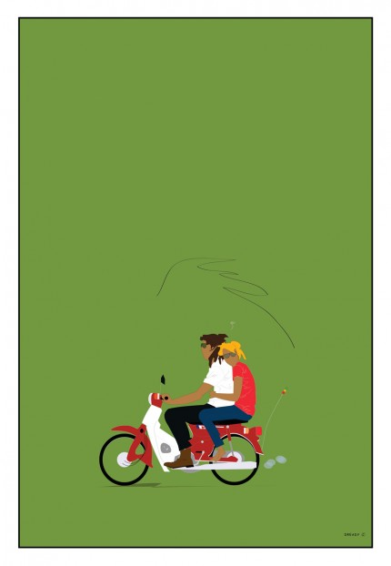 """Trustafarians on Honda 50"" Digital graphic art and acrylic inks, Limited edition archival pigment print, Edition of 99: 30 x 20 inches, Signed and Numbered"