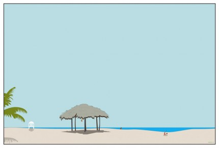 """Beach Cabana"" Digital graphic art and acrylic inks, Limited edition archival pigment print, Edition of 99: 20 x 30 inches, Signed and Numbered"