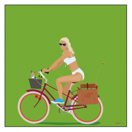 """Bicycle Gyal"" Digital graphic art and acrylic inks, Limited edition archival pigment print, Edition of 99: 24 x 24 inches, Signed and Numbered"