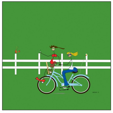 """Bikeafarians Green"" Digital graphic art and acrylic inks, Limited edition archival pigment print, Edition of 99: 24 x 24 inches, Signed and Numbered"