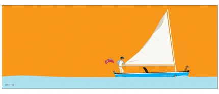 """Cayman Catboat"" Digital graphic art and acrylic inks, Limited edition archival pigment print, Edition of 99: 16 x 40 inches, Signed and Numbered"
