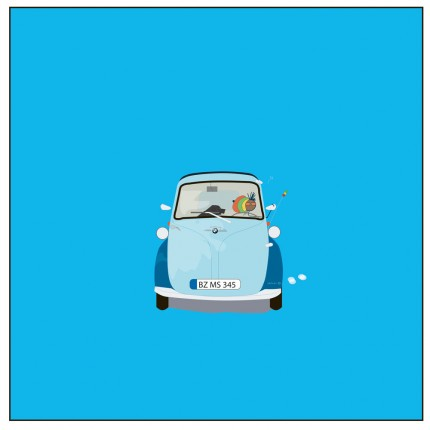 """Isetta (1956 BMW)"" Digital graphic art and acrylic inks, Limited edition archival pigment print, Edition of 99: 24 x 24 inches, Signed and Numbered"