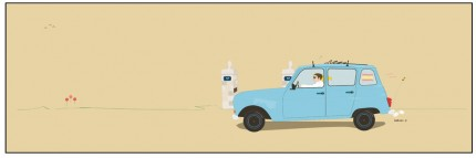 """On the Road to Muro (Renault 4)"" Digital graphic art and acrylic inks, Limited edition archival pigment print, Edition of 99: 12 x 36 inches, Signed and Numbered"