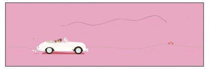 """Porsche 356B"" Digital graphic art and acrylic inks, Limited edition archival pigment print, Edition of 99: 14 x 40 inches, Signed and Numbered"