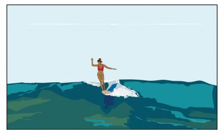 """Surfer Girl 2"" Digital graphic art and acrylic inks, Limited edition archival pigment print, Edition of 99: 14 x 24 inches, Signed and Numbered"