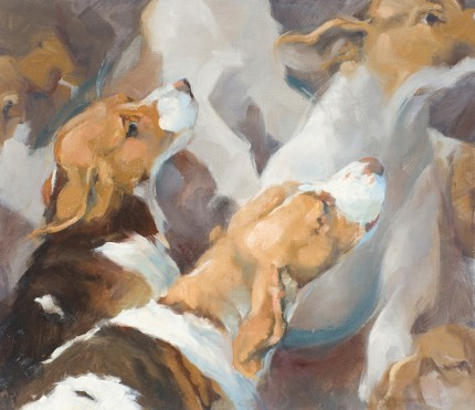 """Baying in the Kennel"" Oil on panel, 13 x 15 inches, Signed"