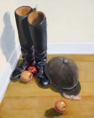 """Boots and Apples"" Oil on panel, 20 x 16 inches, Signed"