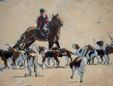 """Whip and the Hounds at Check"" 11 x 14 inches, oil on panel, Signed"