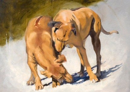 """Wrestling Hounds"" Oil on panel, 30 x 42 inches, Signed"