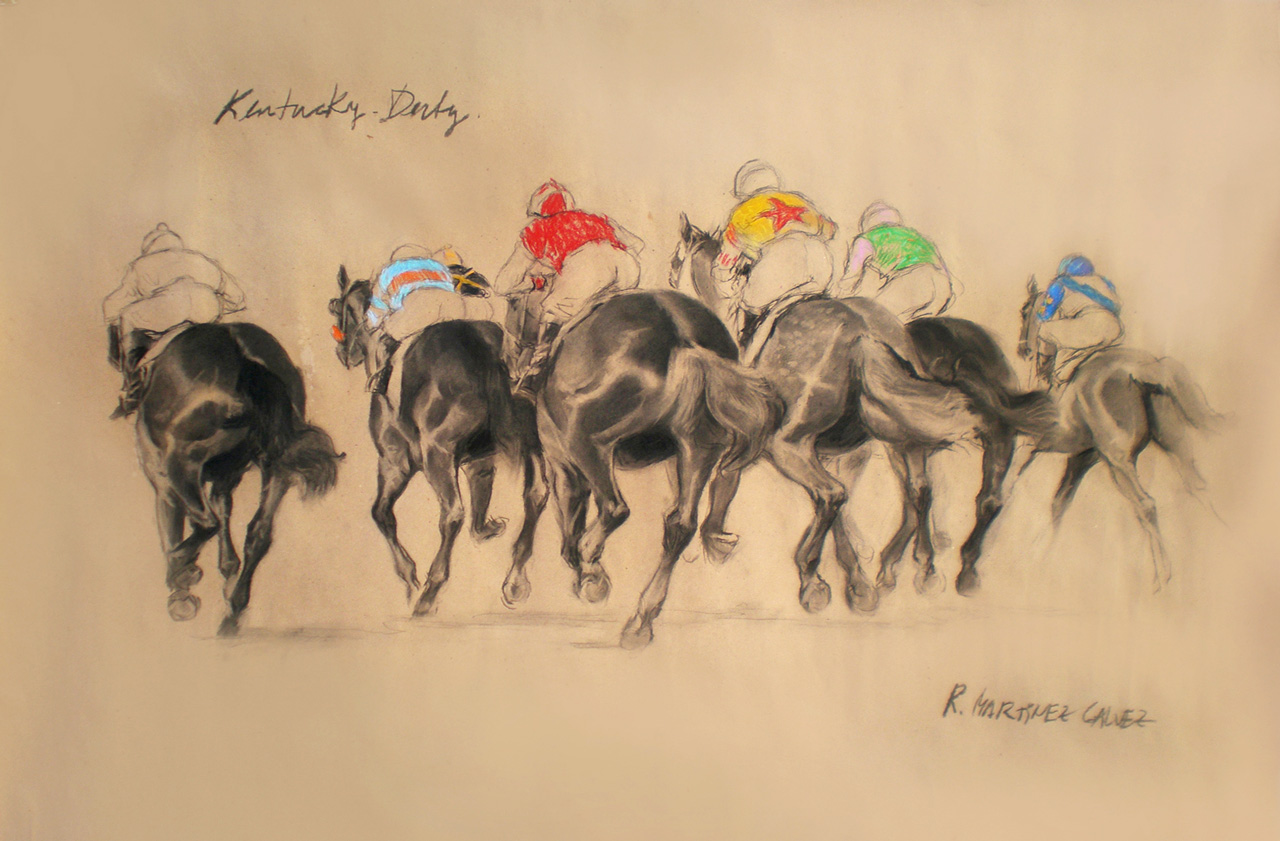 """""""Kentucky Derby"""" Charcoal & Pastel on paper, 33.5 x 47 inches, Signed"""