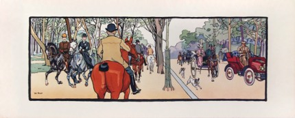 """RIDING IN THE PARK HORSE PANEL"" c.1910, 45 x 18 inches (114 x 45 cm)"