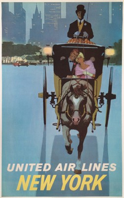 """UNITED AIRLINES NEW YORK (CARRIAGE RIDE)"" by Stan Galli, c.1960, 25 x 40 inches (63 x 101 cm) 