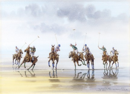 """Polo on the Beach I"" Watercolour on paper, 10.5 x 15 inches, Inscribed, Signed & Dated '92 
