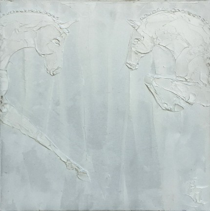 """Combined Training I"" Titanium White oil on canvas, 24 x 24 inches, Signed lower right"