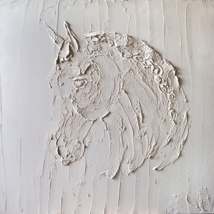 """Lipizzaner Buste"" 2012, Titanium White oil on canvas, 36 x 36 inches, Signed lower right"