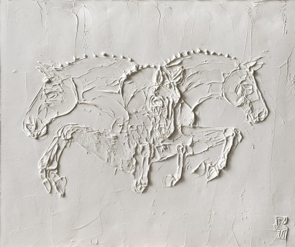 """Show Jumpers I"" 2012, Titanium White oil on canvas, 36 x 36 inches, Signed lower right"