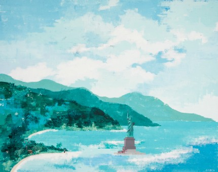 """Liberty in Sea in Montego Bay"" Acrylic on panel, 24 x 30 inches, Signed & Dated 1989 lower right"
