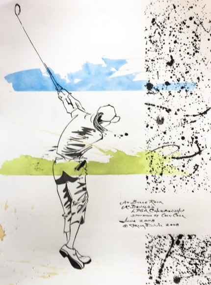 """At Bulle Rock, McDonald's LPGA Championship, Sponsored by Coca-Cola, June 2008"" 2008, India ink and colored inks on paper, 30 x 22 inches, Inscribed, Signed and dated lower right"