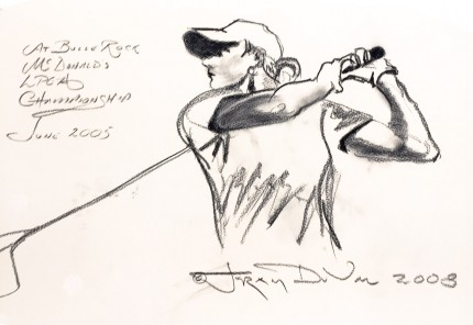 """At Bulle Rock, McDonald's LPGA Championship, June 2005"" 2008, Charcoal on paper, 16 x 22 inches, Inscribed upper left, Signed and dated lower right"