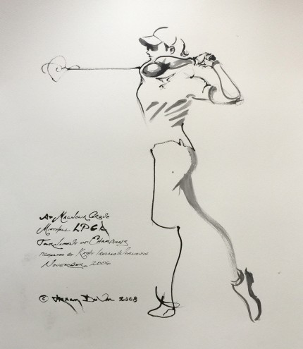 """At Magnolia Grove, Mitchell LPGA Tournament of Champions, Presented by Kathy Ireland Worldwide, November 2006"" 2006, India ink on paper, 30 x 22 inches, Inscribed, Signed and dated lower left"