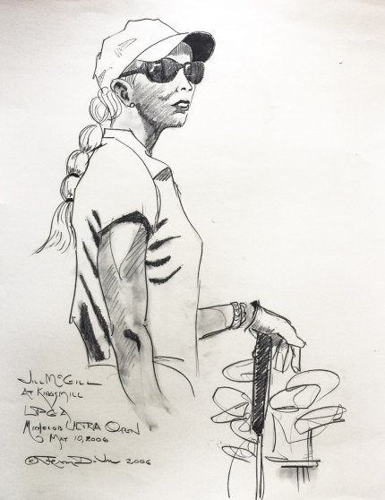 """Jill McGill at Kingsmill, LPGA Michelob Ultra Open, May 10, 2006"" 2006, Charcoal on paper, 30 x 22 inches, Inscribed, Signed and dated lower left"