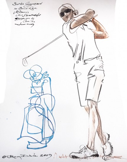 """Sophie Gustafson at Bulle Rock McDonald's LPGA Championship, Presented by Coca-Cola, June 2009"" 2009, Ink and colored pencil on paper, 22 x 15 inches, Inscribed upper left, Signed and dated lower left"