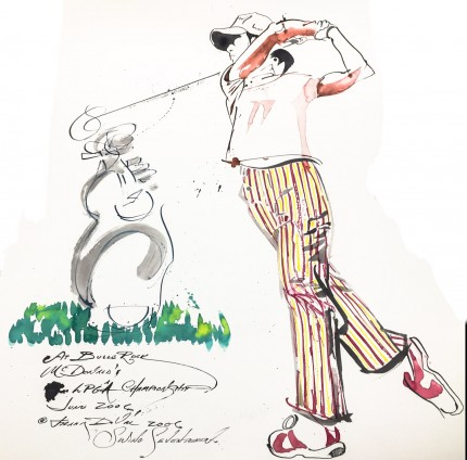 """Swing Seventeen At Bulle Rock, McDonald's LPGA Championship, June 2006"" 2006, India ink and colored inks on paper, 30 x 22 inches, Inscribed, Signed and dated lower left"