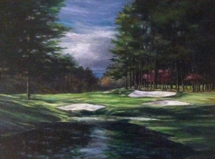 """Augusta National #16"" Oil on canvas, 12 x 16 inches, 20 x 24 inches, Signed lower right"