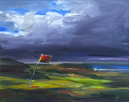 """Downwind, Royal Portrush, Ireland"" Oil on canvas, 11 x 14 inches, 19 x 22 inches, Signed lower right"