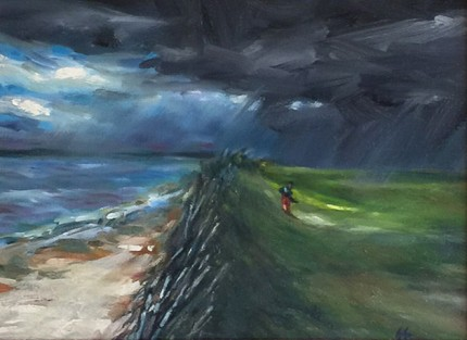 """Last Loop, Waterville, Ireland"" Oil on canvas, 9 x 12 inches, 15.5 x 18.5 inches, Signed lower right"
