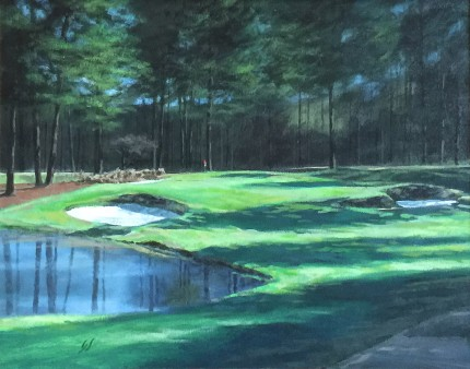 """Pine Needles, #3 Southern Pines, NC"" Oil on canvas, 11 x 14 inches, 19 x 22 inches, Signed lower left"