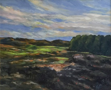 """Royal Birkdale, England"" Oil on canvas, 11 x 14 inches, 19 x 22 inches, Signed lower right"