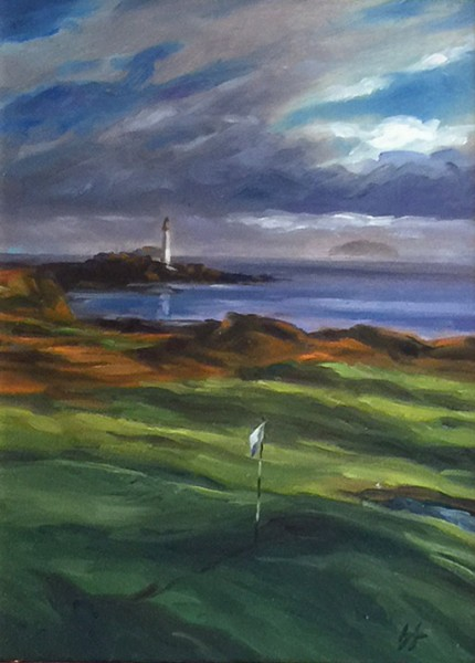 """Turnberry, Ailsa, Scotland"" Oil on canvas, 12 x 9 inches, 20 x 17 inches, Signed lower right"