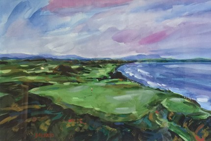 """Ballybunion, Ireland"" Watercolour on paper, 12 x 18 inches, 20 x 26 inches, Signed lower left"