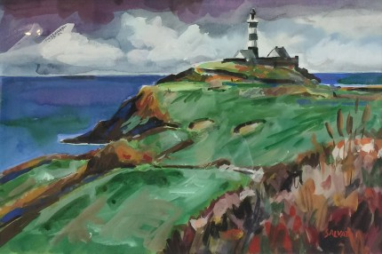 """Old Head, Ireland"" Watercolour on paper, 12 x 18 inches, 20 x 26 inches, Signed lower right"