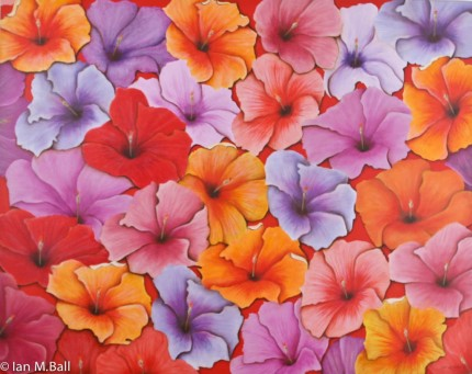"""Hibiscus Mosaic"" Oil on canvas, 48 x 60 inches, Signed"