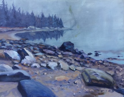 """Maine Beach"" Oil on canvas, 11 x 14 inches, Signed"