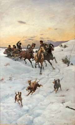 """Riding the Troika"" (Sleigh Ride Home), 1888, Oil on canvas, 49 x 31 inches, 58.5 x 40.5 inches, Signed & Dated '88 lower right"