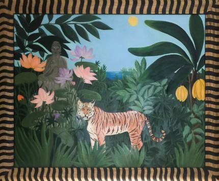 """""""Tigre di Luna"""" Oil on canvas, 40 x 50 inches, Signed"""