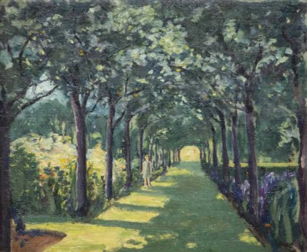 """An Avenue at Frinton-on-Sea, Essex, with Miss Diana Churchill"" c. 1922, Oil on canvas, 20 x 24 inches"