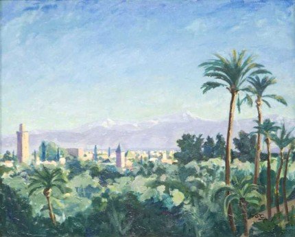 """Marrakech"" 1947, Oil on canvas, 22 x 28 inches"